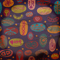 Whimsical seamless pattern with traditional objects funny Stock Photography