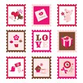 Whimsical Valentine`s Day Stamps Set