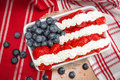 Whip Cream, strawberries and blueberries combined to look like the american flag Royalty Free Stock Photo