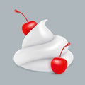 Whipped cream with cherries. Vector image.