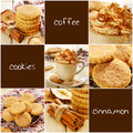 Whipped cream coffee and apple cinnamon cookies set with copy space Stock Images