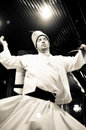 Whirling dervish dancing in Istanbul, Turkey Royalty Free Stock Photos