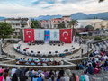 Whirling dervishes show and religious music concert for begining of ramadan at Marmaris amphitheater in Marmaris, Turkey