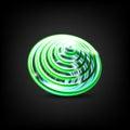 Whirlpool. Abstract spiral, vortex shape, element