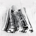 Whisk and cloth wire over kitchen Royalty Free Stock Photography