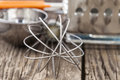 Whisk and kitchen appliances closeup Royalty Free Stock Photo