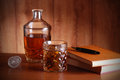 Whiskey, books and pen Royalty Free Stock Image