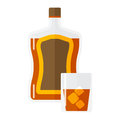 Whiskey bottle and short glass brown drink vector illustration.