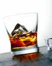 Whiskey or brandy on the rocks Stock Photos