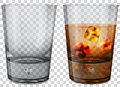 Whiskey glass with ice cubes