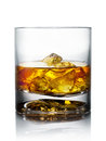 Whiskey glass of with ice isolated on white Royalty Free Stock Image