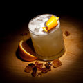 Whiskey sour cocktail bourbon with lemon juice sugar syrup and egg white Royalty Free Stock Image