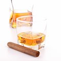 Whisky and cigar isolated on white Stock Images