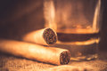 Whisky and cigars Royalty Free Stock Photo