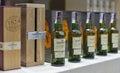 Whisky dram festival in kiev ukraine the glenlivet old single malt scotch bottles closeup a row for tasting on booth at ukrainian Royalty Free Stock Images