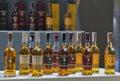 Whisky dram festival in kiev ukraine glenmorangie highland single malt scotch bottles closeup a row for tasting on booth at Royalty Free Stock Photo