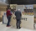 Whisky dram festival in kiev ukraine unrecognized people visit glenlivet single malt scotch highland distillery booth at st Royalty Free Stock Images