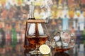 Whisky in glasses and cigar Royalty Free Stock Photo