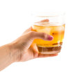 Whisky on the rocks old fashioned glass with served Stock Photography