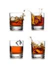 Whisky splash isolated on a white background Royalty Free Stock Photo