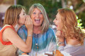 Women gossiping whispering secret scandal Royalty Free Stock Photo