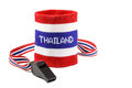 Whistle and wristband in thai flag pattern symbol of resistance to thai government on white background isolated blank area at Stock Photos