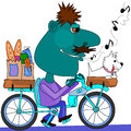 Whistling bicycle rider enjoying his ride home with his packages and his pet dog Stock Photography