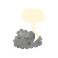 Whistling cloud retro cartoon Stock Photo
