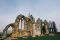 Whitby abbey castle a ruined benedictine sited on s east cliff in north yorkshire on the north east coast of england Stock Photography