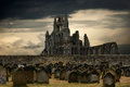 Whitby abbey and cemetery Royalty Free Stock Photo