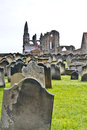Whitby abbey and graveyard Stock Photo