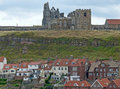 Whitby Abbey overlooking the town Stock Images