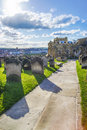 Whitby churchyard and cemetery in north yorkshire in england it is ruins of the benedictine abbey now it is under protection of Stock Image