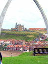 Whitby north yorkshire the abbey and st mary s church with the steps taken through the whalebone archway at england uk Royalty Free Stock Photography