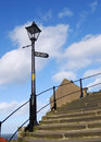 Whitby steps lamp post at bottom of famous to abbey Stock Images