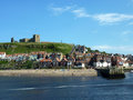 Whitby view picture card of coastal town of north yorkshire uk Royalty Free Stock Photos