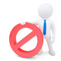 White 3d man with red prohibitory sign Stock Photography