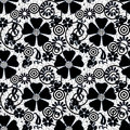 White abstract seamless lace pattern texture background black Stock Photography