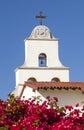 White Adobe Mission Santa Barbara Cross Bell California Stock Photography