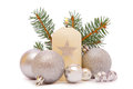 White advent candle: Royalty Free Stock Images
