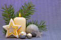 White advent candle. Royalty Free Stock Photos