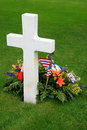 White American cross and flowers Royalty Free Stock Photo