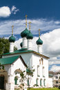 White ancient church with five green domes cupola Royalty Free Stock Photo