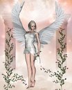 White Angel with Roses. Royalty Free Stock Images