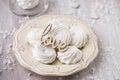 White apple marshmallows zephyr for valentine day homemade Stock Images