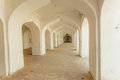 White arches in indian house with long corridor inside. Old building in India. Royalty Free Stock Photo