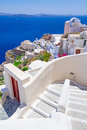 White architecture of oia town on santorini island greece Royalty Free Stock Images