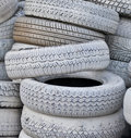 The white automobile tires Royalty Free Stock Images