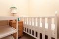White baby cot bed arrangement Stock Photos