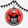 White background with black festoons and pendant sun shape tag of black friday offer with red balloons and black Royalty Free Stock Photo